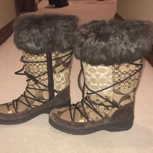 EUC COACH Laurilyn patchwork winter boots 8.5
